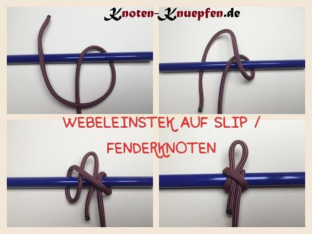 Webeleinstek Mastwurf auf Slip Fenderknoten Anleitung